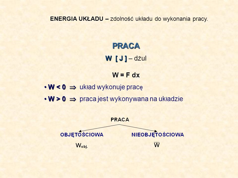 PRACA W [ J ] – dżul W = F dx W < 0  układ wykonuje pracę